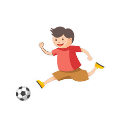 Funny little boy plays football isolated cartoon vector