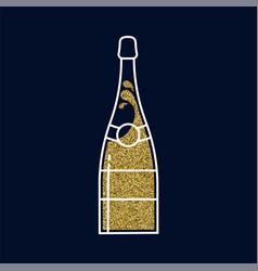 gold glitter champagne bottle in line art style vector image