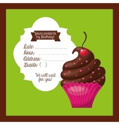 Happy birtday invitation card vector