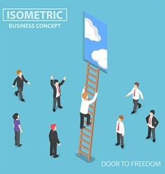 Isometric businessman climbing ladder to the door vector