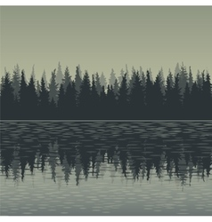 landscape with fir trees and water vector image