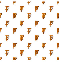 Letter f from caramel pattern vector