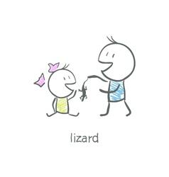Lizard in hand vector image vector image