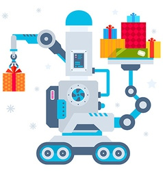 machine that puts one present and hol vector image vector image