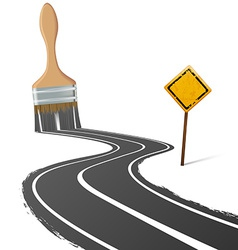 Paint brush draws the road next to a traffic sign vector