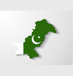 Pakistan map with shadow effect presentation vector image vector image