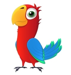 Parrot cute chick with big and kind eyes cartoon vector