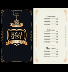 royal menu for restaurant or cafe with price list vector image
