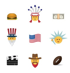 Set of usa emoticon vector image