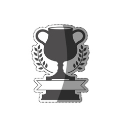 sticker trophy cup in monochrome with ribbon vector image vector image