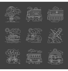 Transport and vehicles line detailed icons vector