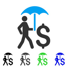 Walking businessman with umbrella flat icon vector