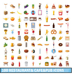 100 restaurant cafe icons set cartoon style vector image vector image