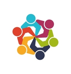 Teamwork icon abstract people and support design vector