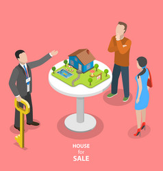 house for sale isometric flat concept vector image
