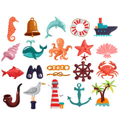 Nautical elements and sea life collection vector