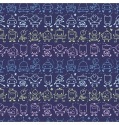 Doodle robots stripes seamless pattern background vector