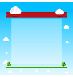Nature background cloud sky tree blank frame and vector