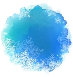 Blue paint stain with snowflakes vector
