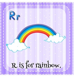 Flashcard letter R is for rainbow vector image