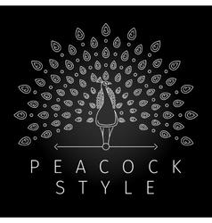 Thin line peacock logo vector image