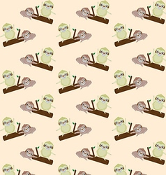 Seamless pattern with cute cartoon sloth vector