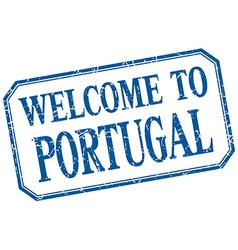 Portugal - welcome blue vintage isolated label vector