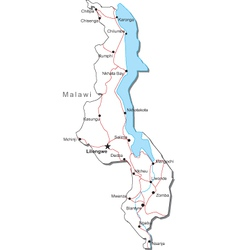 Malawi black white map vector