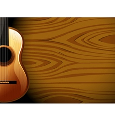 A guitar beside a wood-colored wall vector image