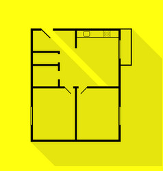 Apartment house floor plans black icon with flat vector
