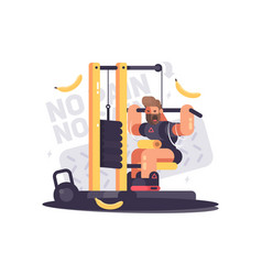 athlete trains on sport apparatus vector image vector image