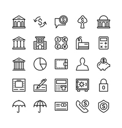 Banking and Finance Outline Icons 3 vector image vector image