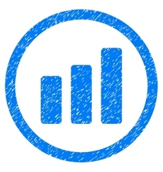 Bar chart increase rounded icon rubber stamp vector