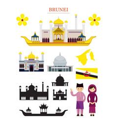 brunei landmarks architecture building object set vector image vector image