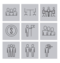 Business people teamwork icon set in thin line vector