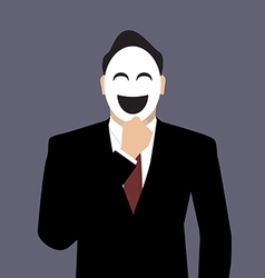 Businessman wearing a laughing mask vector