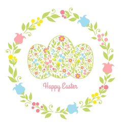 card easter eggs with flowers vector image vector image