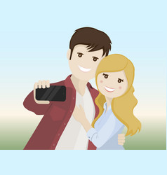 Couple of lovers making a selfie vector