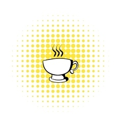 Cup of coffee or tea icon comics style vector image vector image