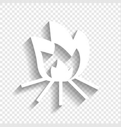 Fire sign white icon with soft shadow on vector