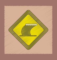 Flat shading style icon tsunami sign vector