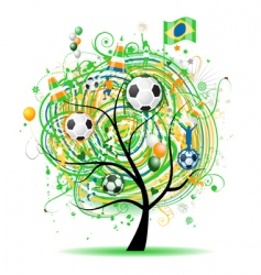 football tree design Brazilian flag vector image