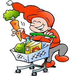 Hand-drawn of an Happy Christmas Elf on Shopping vector image vector image
