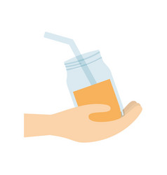 Hand holding glass jar juice vector