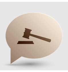 Justice hammer sign Brown gradient icon on bubble vector image vector image