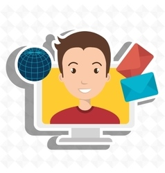 man laptop global message vector image