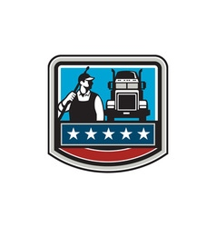 Pressure washer worker truck crest usa flag retro vector
