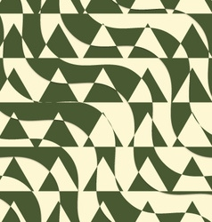 Retro 3D green and yellow cut out waves with vector image