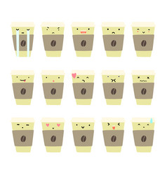 Set of coffee cup emotions vector