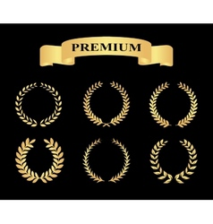 Set of golden silhouette circular laurel foliate vector